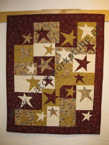 Freigeschnittene Sterne nach einer Vorlage von SULKY, Wandbehang, Maschine genäht und gequiltet