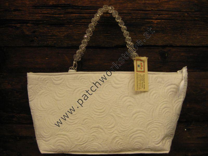 Eigenentwurf-Tasche in Weiß, mit weißem Metallicgarn Maschine gequiltet
